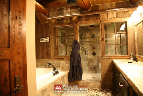 Dazzling Log Home Bathrooms Custom Designed Log Home
