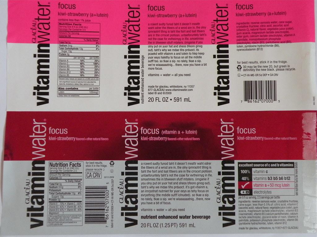 Vitamin Water Label Vitamin Water Label
