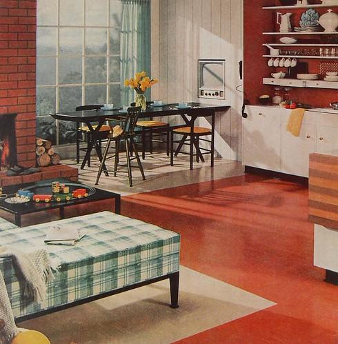 1960s Breakfast Nook Television Kitchen Vintage Interior D