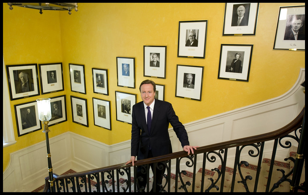 David Cameron On The Stairs In Number 10 Downing Street