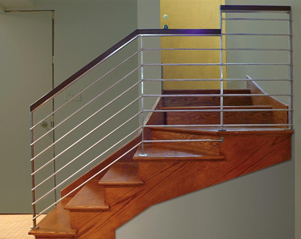 Lighting Basement Washroom Stairs: Modern Stainless Stair Railing © In Stainless Steel & Oak