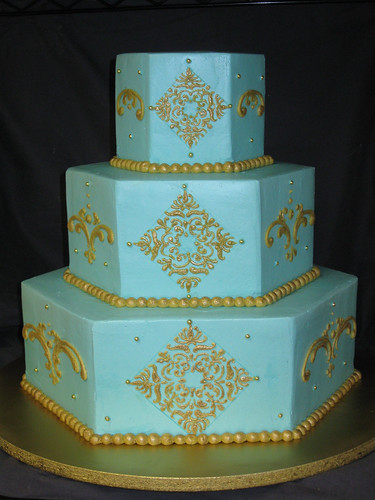 hexagon wedding cakes turquoise and gold hexagon cake haines barksdale flickr 15216