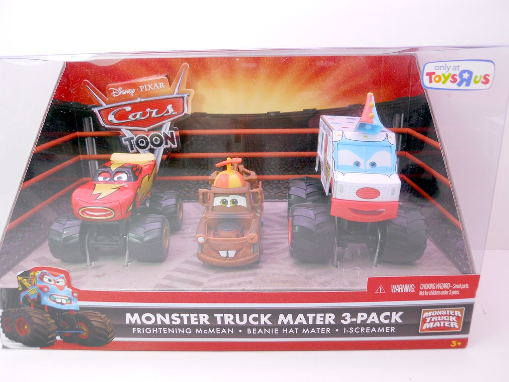 Disney cars toys r us monster truck mater 3 pack beanie ma for Bureau cars toys r us