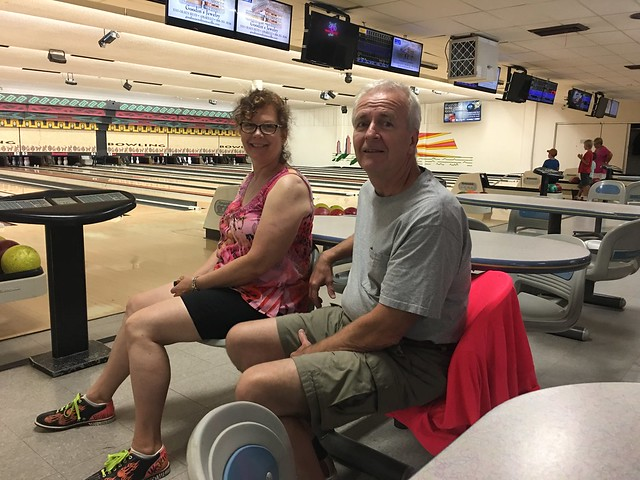 Bowling with Papa Kirk and Grandma Ella