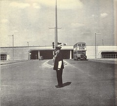London Heathrow Airport - access tunnel from the A4 showing London bus - 1956