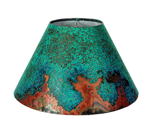 Patina Copper Lamp Shade Azul