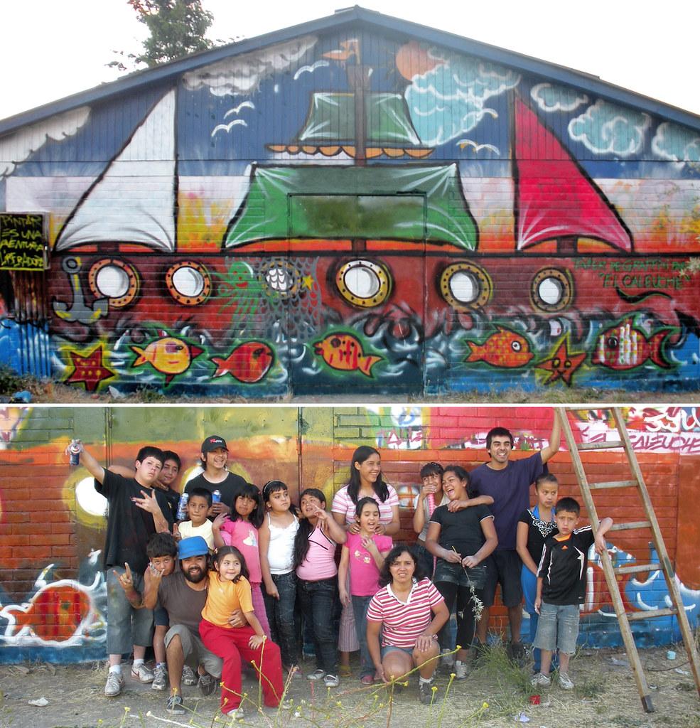 Taller de graffiti graffiti realizado por los ni os y for Graffitis para ninos