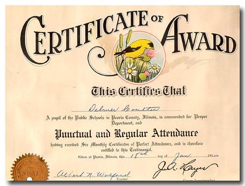 Delmar Coulter Attendance Certificate Douglas Coulter