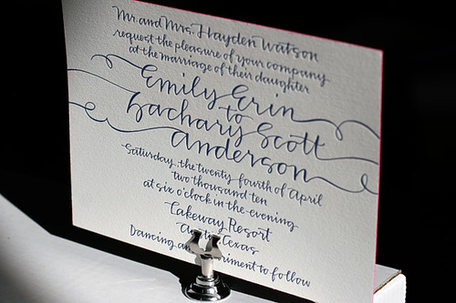 String Calligraphy Letterpress Wedding Invitations By Bell