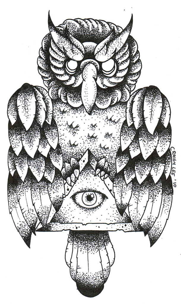 Old School Owl Dotwork Tattoo Design Www Craigylee Com