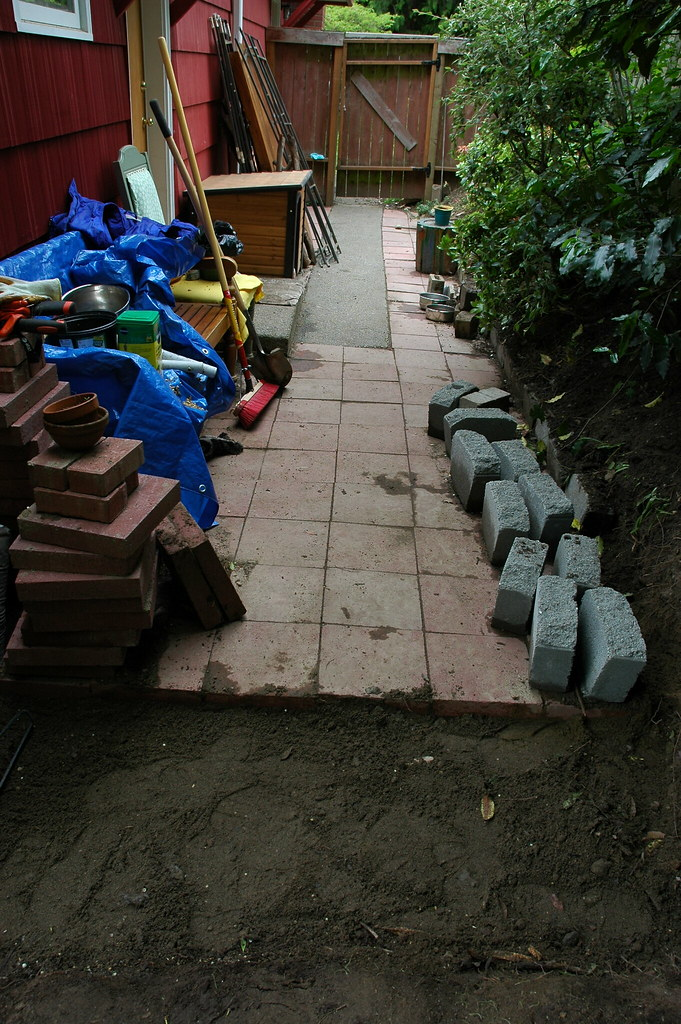 ... Red Brick Patio, Progress Building The Dog Run, Path, Sand, Dog House
