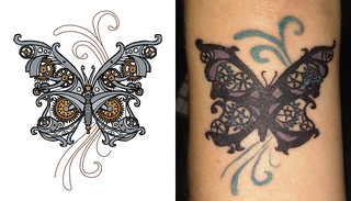 steampunk butterfly tattoo | by Urban Threads