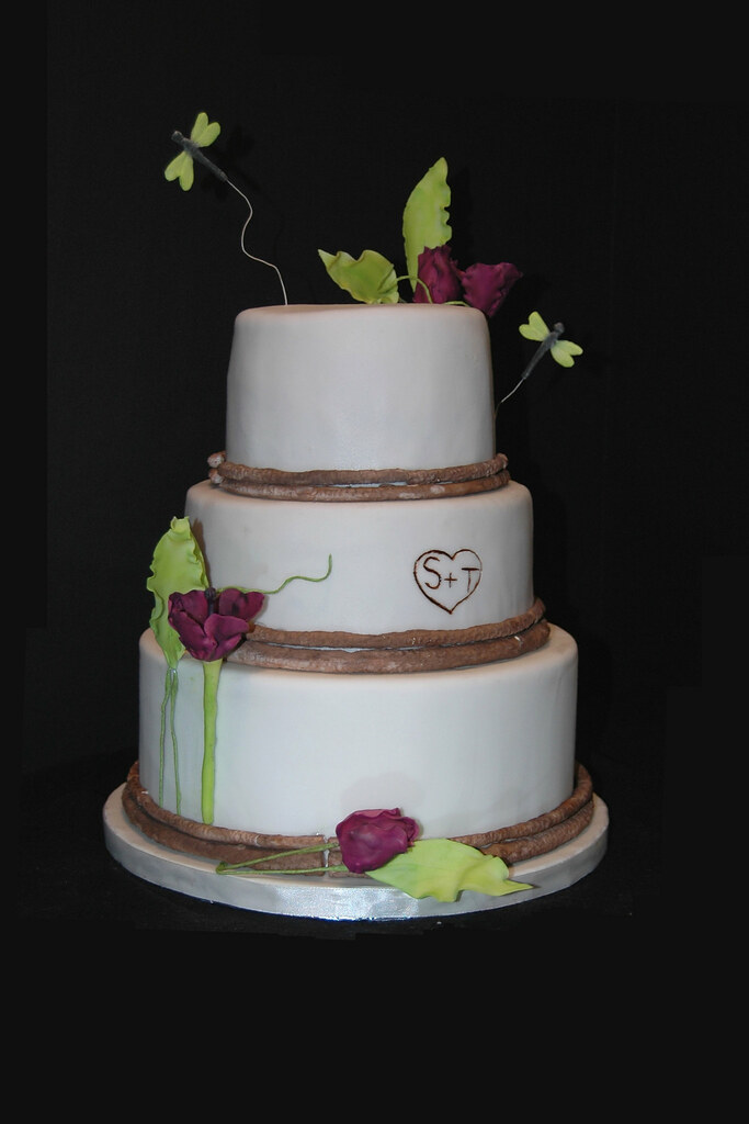 Tulips and Tree Bark Wedding Cake | Tiers are surrounded by … | Flickr