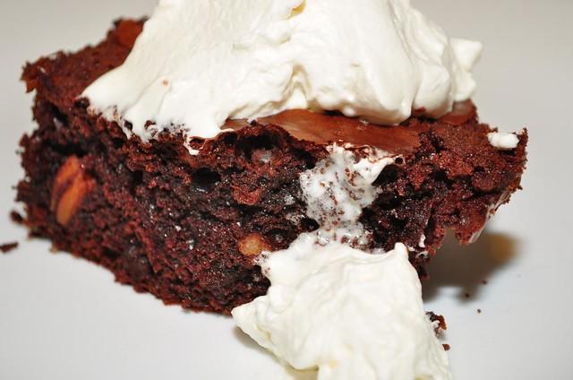 whipped cream on brownie