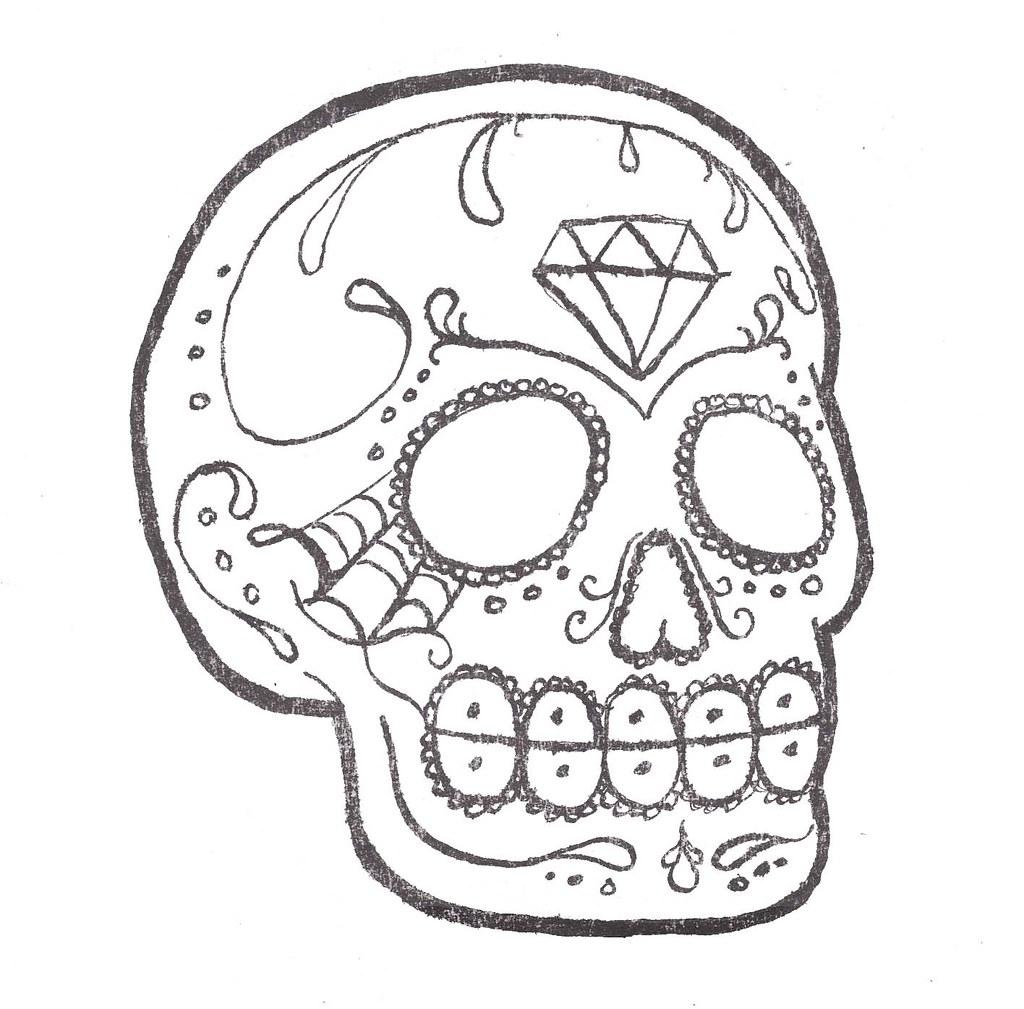 Sugar skull tattoo elizabeth chamberlin flickr for Small drawing ideas