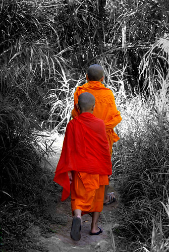 Monks by The Mekong, Laos | by The Hungry Cyclist