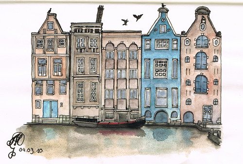 Amsterdam in ink and watercolour | by Sketchmanni