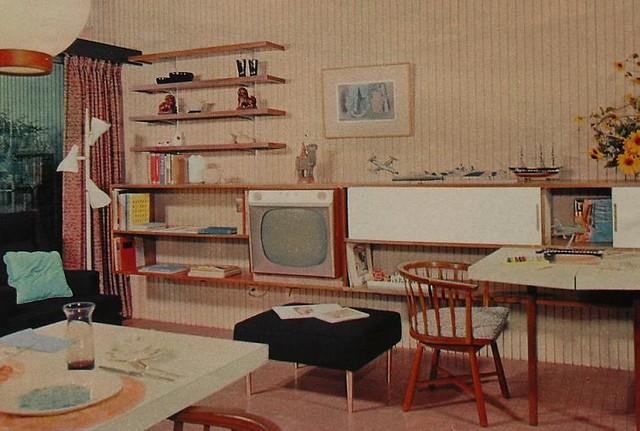 1950s tv rec room lounge den vintage interior design photo for 50s living room ideas