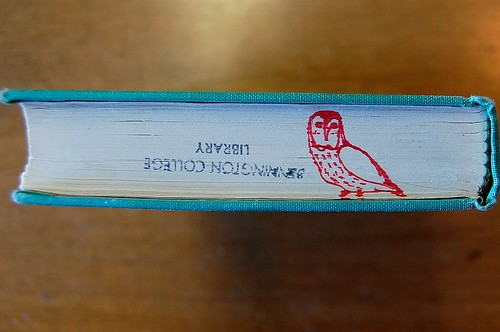 Owl drawing on book edge | by Crossett Library Bennington College