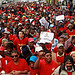 Striking Transnet workers march to Parliament in Cape Town, Tuesday, 11 May 2010 to voice their grievances about a salary dispute with the parastatal's management.