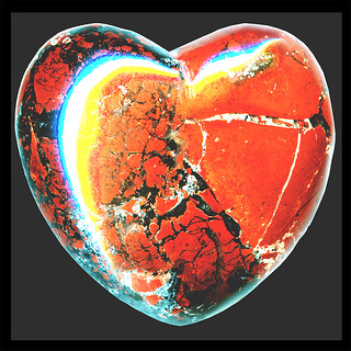 hearts′ empath ♥ brick-red ♥ brecciated jasper & black hematite stylized as an aphrodisiac silphion seed overdubbed by a tricolor broken-hearts-symbol ಌ | by oedipusphinx — — — — theJWDban