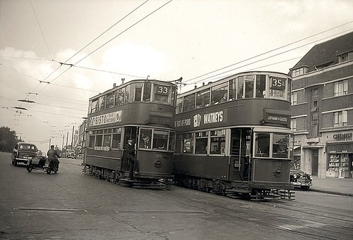 London Trams At Manor House 1950 By Norman Hurford