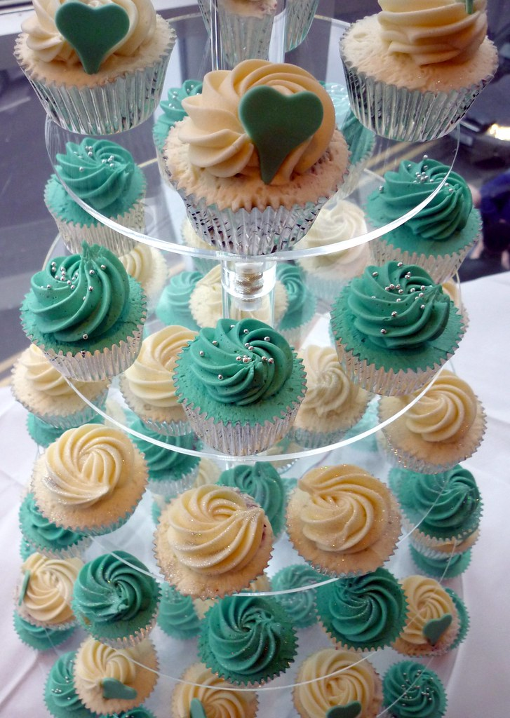 Turquoise And Hearts Wedding Cupcake Tower A Tower Of