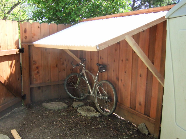 Fence Supported Bike Shelter Built A Client A Bike