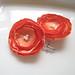 Sweet Orange Satin Flower Hair Pins