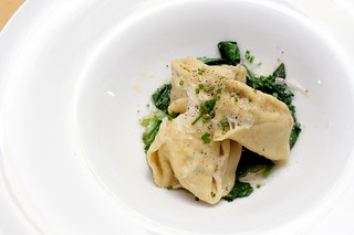rustic goat cheese, chive, and pancetta tortellini over wilted spinach with brown butter | by aarn!
