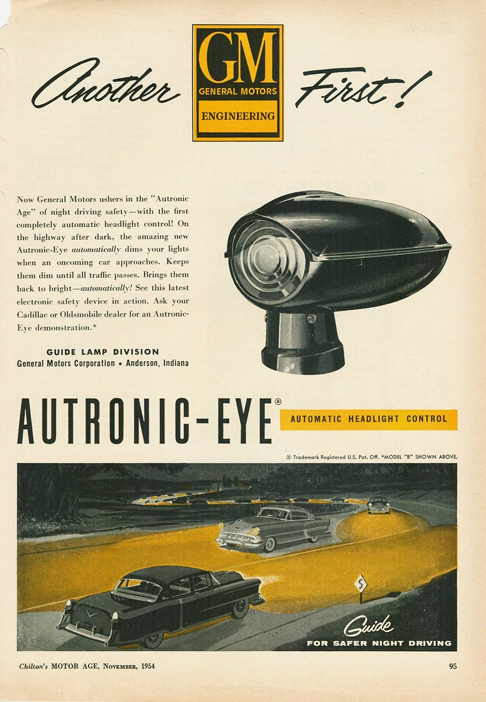 Who Makes Cadillac >> GM Autronic-Eye Automatic Headlight Control, 1954 | This ...