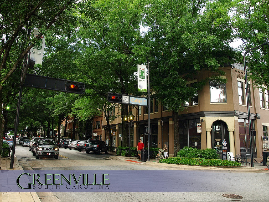 A postcard of main street greenville south carolina for R kitchen south carolina
