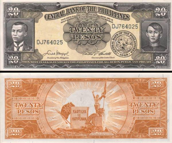 20 Pesos Filipíny 1949, P137d