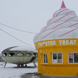 Twistee Treat and spaceship in the snow | by yooperann