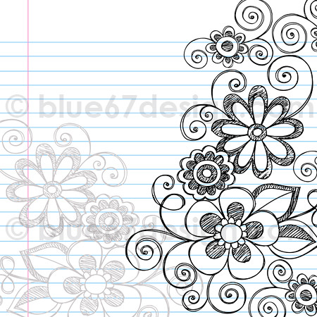 Hand Drawn Sketchy Notebook Doodle Flower Page Border Vec