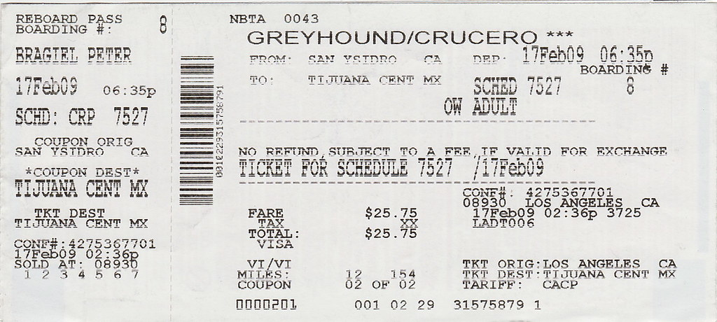 Bus Ticket to TJ   Greyhound bus ticket from Los Angeles ...  Bus Ticket to T...