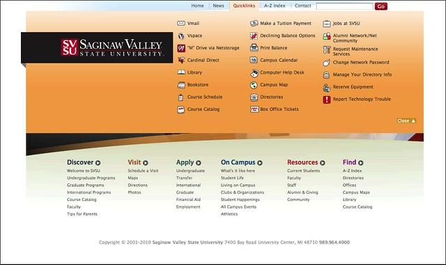 web design svsu home quicklinks site design for saginaw flickr