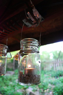 Mason jar candles (I added rocks to help the candles sit flat) | by queenofthemoodswingset2