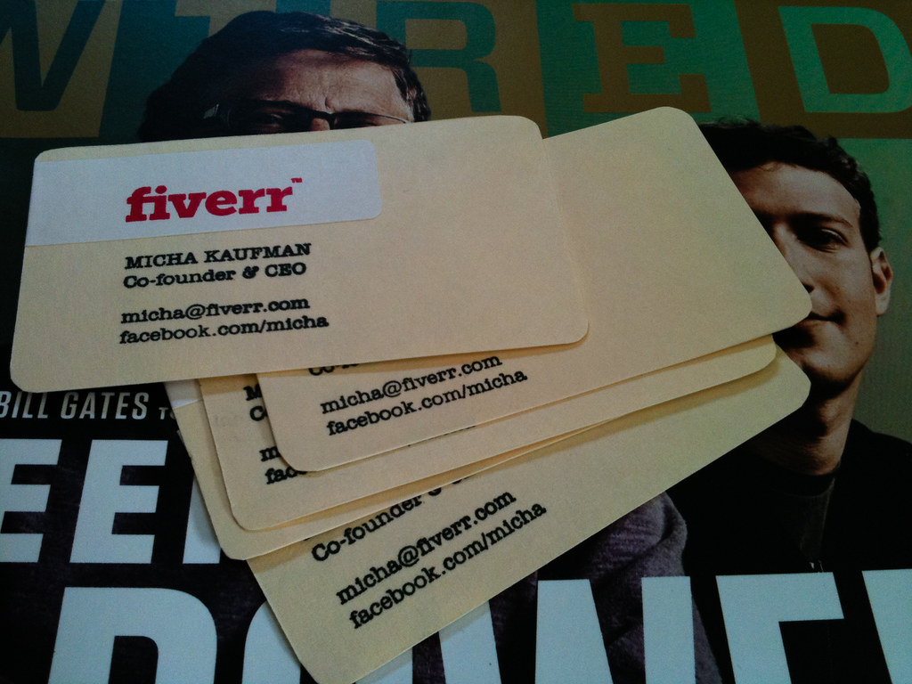 Fiverr recycled paper business card | Micha Kaufman | Flickr