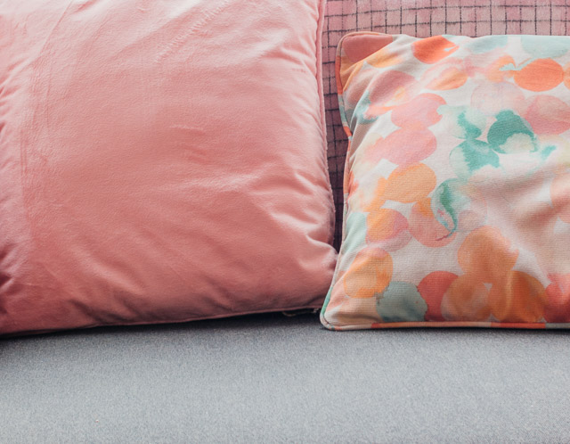 pale pink velvet and watercolour style cushions