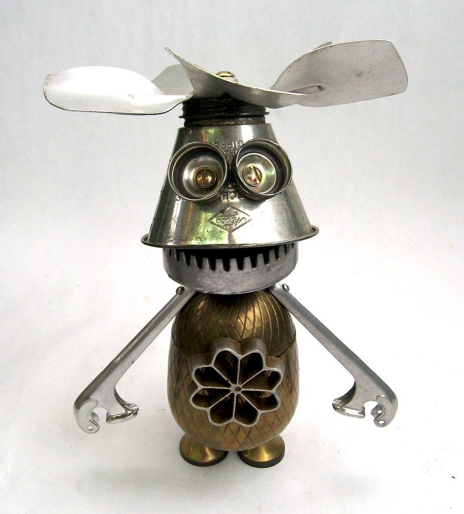 dipper found object robot assemblage sculpture by brian flickr