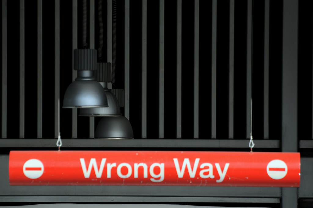 Do Not Enter Garage : Wrong way sign do not enter red lamps garage exit omni hot