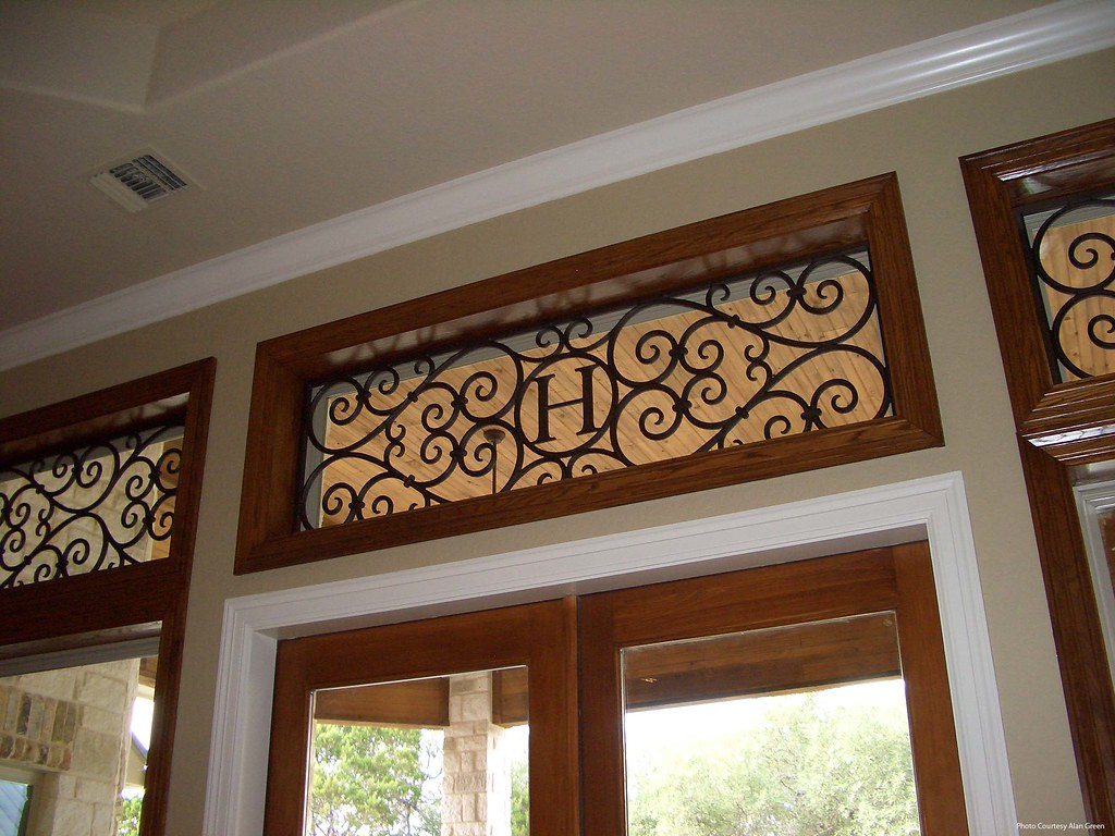 Faux Wrought Iron Transom Window Treatment With Monogram