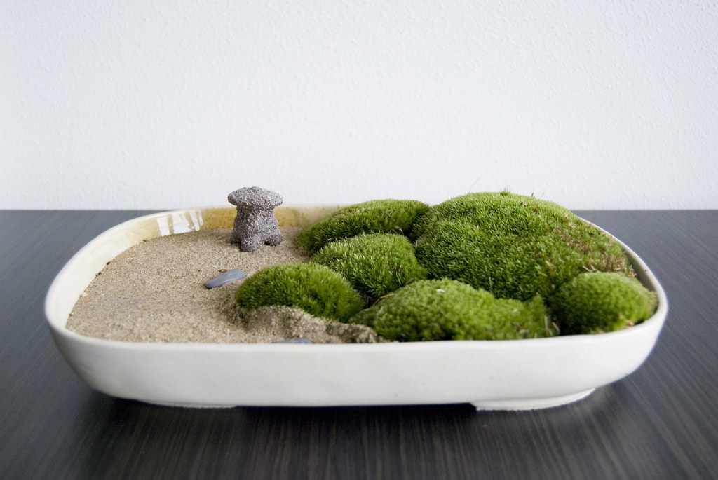 zen garden with moss and a japanese latern studio zaalberg flickr. Black Bedroom Furniture Sets. Home Design Ideas