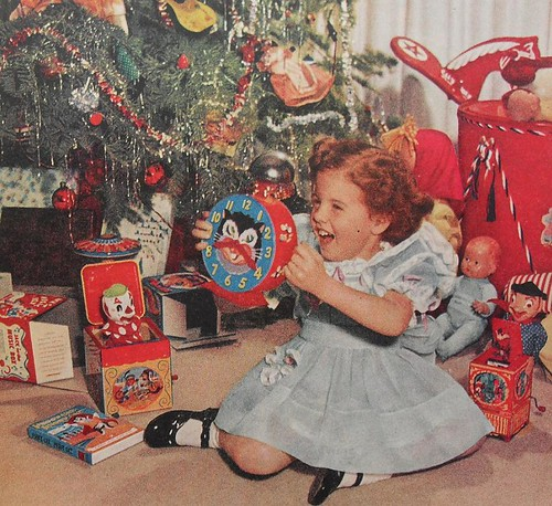 Toys For Girls In 1950 : S christmas morning girl kiddie clock toys vintage pho