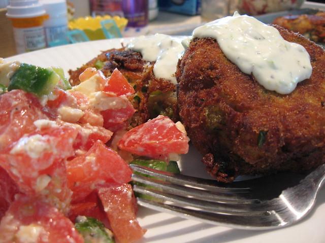 Potato-tuna croquettes with feta, tomato, and cucumber ...
