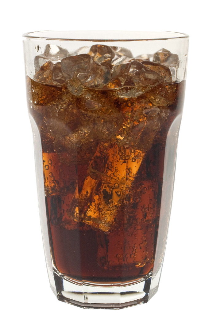 Glass of soda and ice ...