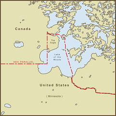 A Map Of The Northwest Angle Border Between The Usa And Canada By