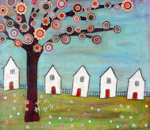 Houses Tree Collage La...