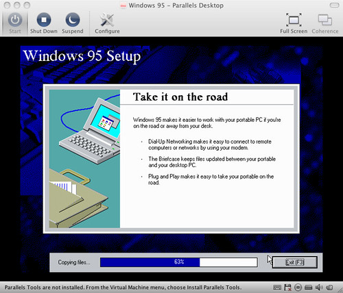 installing windows 95 in parallels